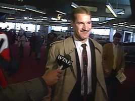 "Here's another ""flashback"" shot of Cowher at the old Greater Pittsburgh International Airport. (Check out the old school WTAE microphone flag.)"