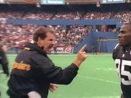 Cowher gets in the face of Greg Lloyd, another memorable name from the 1990s Steelers teams.