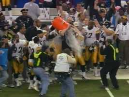 "The Steelers gave their coach a ""Cowher Shower"" with a barrel of Gatorade."