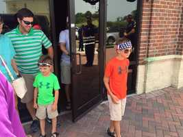 Sam Turner, 5, and Brooks Turner, 8, visit Willie's Duck Diner in West Monroe, La., as part of a Make-A-Wish trip.