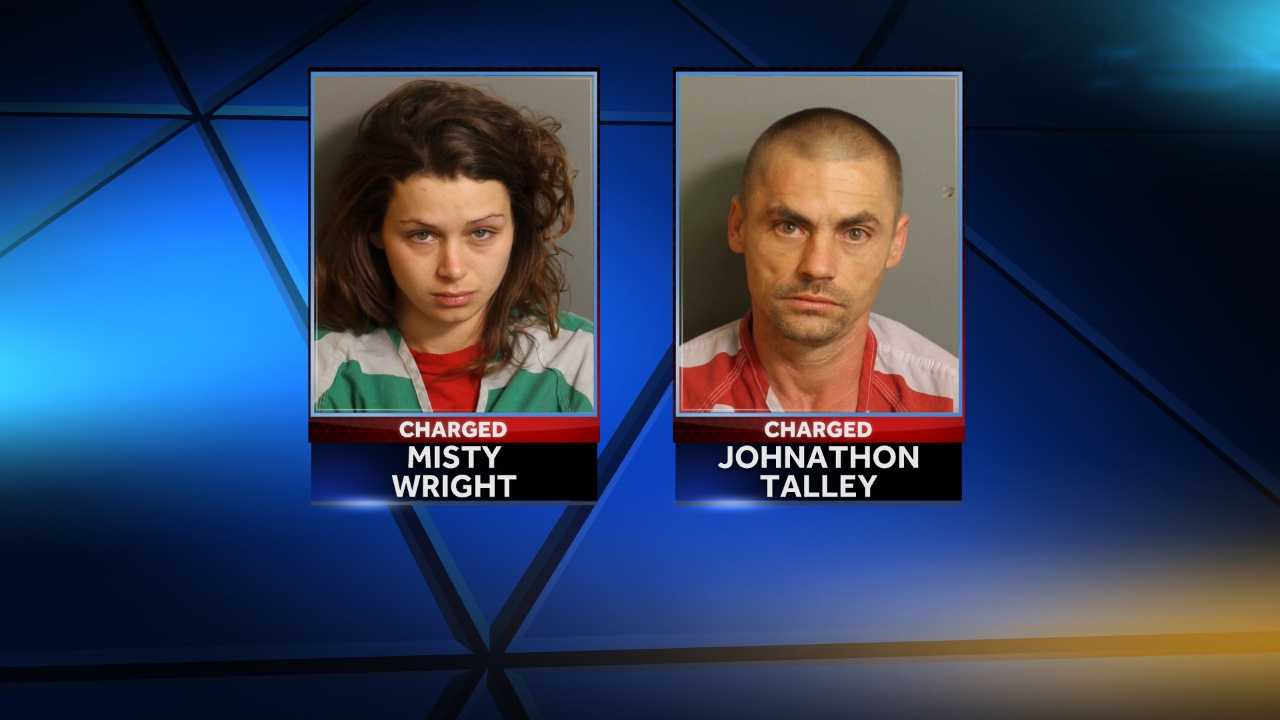 Misty Wright and Johnathon Talley are charged with aggravated child abuse after 3-year-old Jettie Adams was found unresponsive on a porch Monday. Wright is the girl's mother.