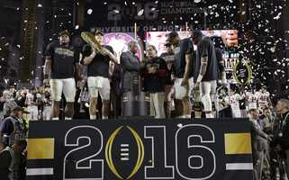 Alabama players celebrate after the NCAA college football playoff championship game against Clemson Monday, Jan. 11, 2016, in Glendale, Ariz. Alabama won 45-40.