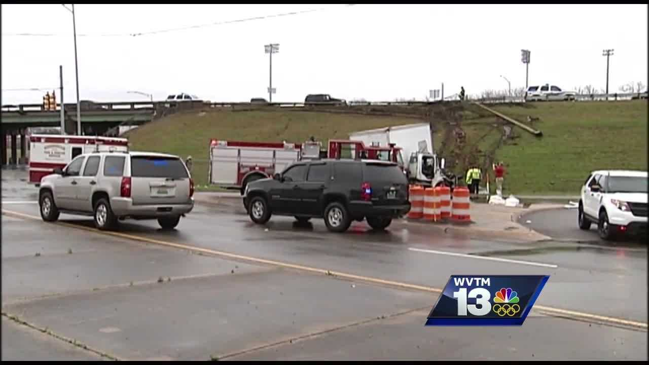 An 18-wheeler crashed into a guardrail at trouble spot Tuesday morning