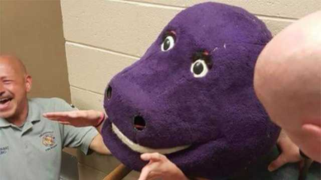 Teen gets stuck in Barney head