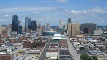 Kansas City hosted its only DNC in 1900.David Jones -View of downtown Kansas City from the Sheraton Hotel- Creative Commons Flickr