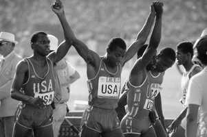 Sunder L. Nix (left) of Birmingham took gold in the 4x400m relay at the 1984 Summer Olympics in Los Angeles.AP Images