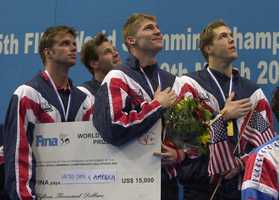 Swimmer Scott Tucker (left), a graduate of Auburn University, won gold in the 400m freestyle relay at the 1996 Summer Olympics and and silver in the 4x100m freestyle rel 2000 Summer Olympics.AP Images