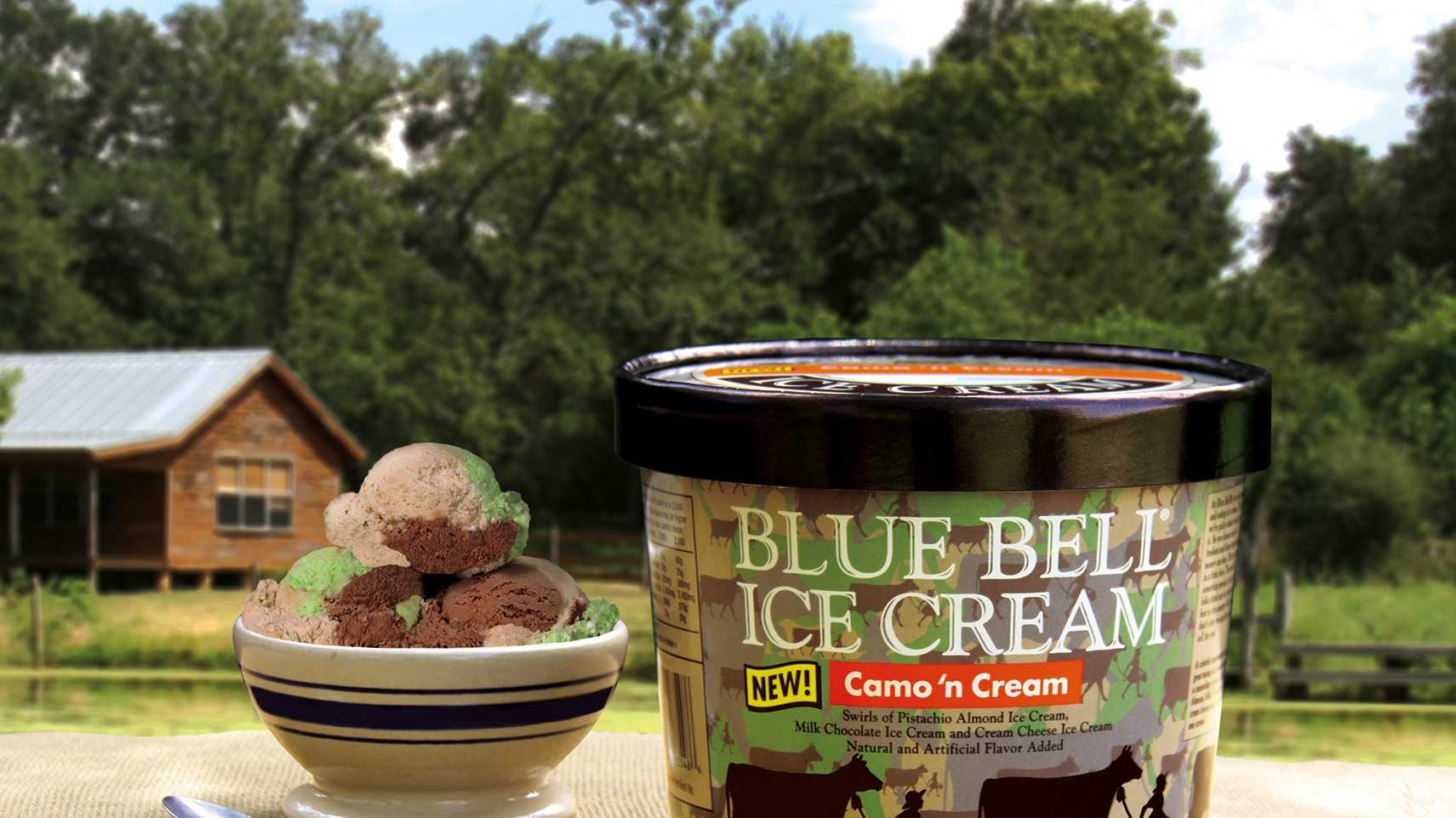 Blue Bell's newly-released Camo 'n Cream flavor is now available on store shelves.