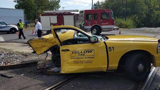Taxi, train collide in Birmingham