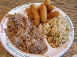 Stamey's most popular dish is the chopped pork with slaw & hushpuppies. President Bush tried some during a 2006 visit to Stamey's.