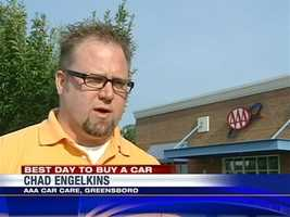 Tuesday and Wednesday are the best days to buy a vehicle, according to Chad Engelkins of AAA Car Care. Mid-week business at car dealerships usually slows down.