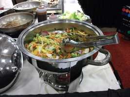 A few vegetables and at least two meats plus bread is a good way to go for the reception...(Holiday Inn, Winston-Salem)