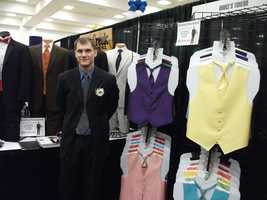 Representing Bruce's Tuxedo with many colorful vests and ties to change up the colors of the men in the wedding party at The Carolina Weddings Show...
