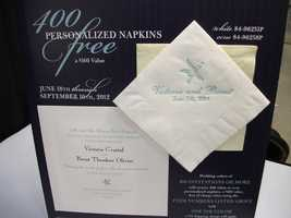 Wedding Reception menus and napkins can also be ordered from vendors...(Noteworthy - Fine Paper & Gifts)