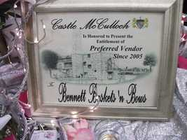 Bennett's Baskets N Bows shout out from Castle McCulloch. This booth did have some interesting styles to help with wedding planning.