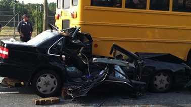 Crash involving school bus in harlotte
