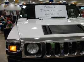 The front of the Black Tie Limousine Service looks pretty modern for those wedding photos.