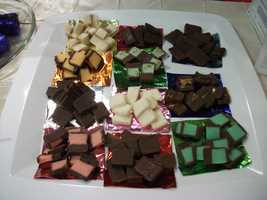 These samples of flavor filled candies were given to couples from Casanova's Confections Inc.