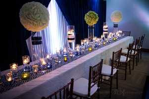 """This design for a reception is great for """"The Great Gatsby"""" or any other old Hollywood Glamor movie theme."""