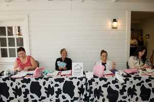At theWinMock Bridal Show several ladies helped give all information and tickets for prizes to the wedding guests.
