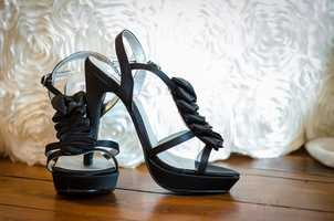 The right heels with the right wedding gown. Future brides got to see some shoes that they might want to wear with their gown. (Make sure you can dance in them too, or change into flip flops or a more comfortable shoe).