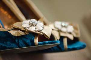 Wedding shoes were at thePerfect Wedding Guide Triad/Triangle - WinMock Bridal Show to show future brides some selections they may want to wear in their ceremony. (Brides don't be scared to show individually and wear a different color than white).