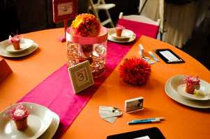 Bright vibrant colors can be used for the Fall, Halloween and/or Thanksgiving Themed Wedding, but other wedding colors you like can be used too. The use of pink here for the reception tables or black if you are going with the Halloween theme.