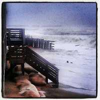 On Sunday, waves crash into the shore in Kill Devils Hill, N.C.