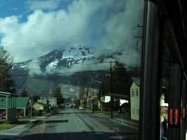 The tour group gets a ride through the town of Skagway, Alaska before boarding the White Pass Train.