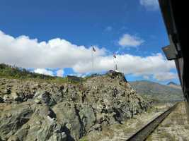 Passing the White Pass Summit while riding the rails in Alaska.
