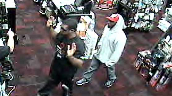 Surveillance image of robbery at Burlington GameStop