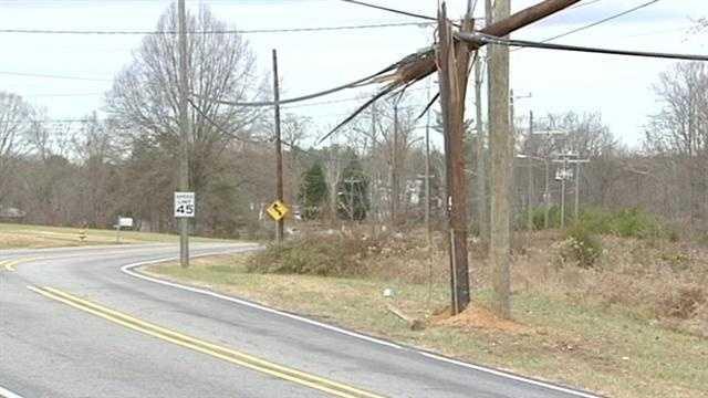 Damaged utility pole on Oak Summit Road in Winston-Salem