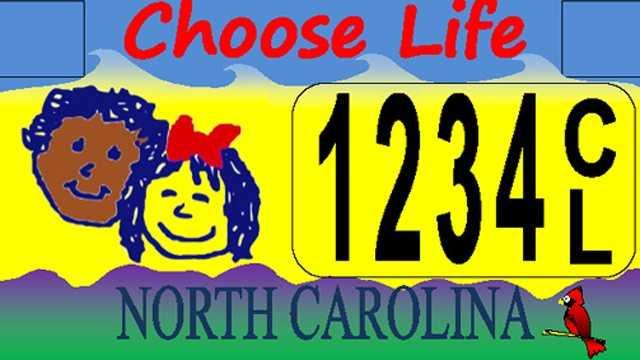Choose Life license NC plate