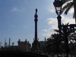 Another view of the statue of Christopher Columbus who was hired by Spain and in 1942 found the New World.