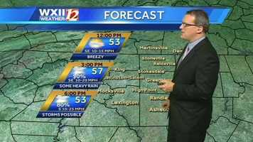 There is a chance of rain and thunder today, and wind advisories have been issued. Check the futurecast slides with Brian.