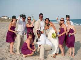 Even the fusia colors work in this beach wedding for a Valentine's Themed Wedding...