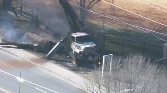 Power lines fall on crane in Charlotte