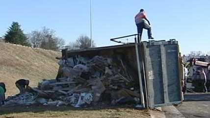 Dump truck crash on U.S. 52