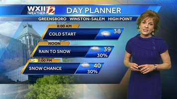 It's going to be a cold weekend, with a chance of snowflakes in the Piedmont. Here is the Saturday day planner. | Want to watch Lanie's forecast? Click here.