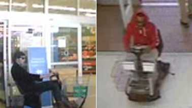 Surveillance image of electric cart theft at Boone Walmart