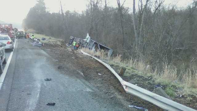 Tractor trailer overturn image