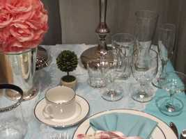 A&J Rental had a nice setup at there booth, with everything from flowers to glassware.