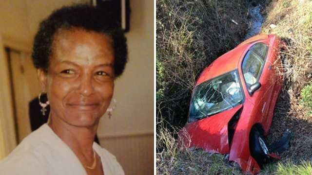 Carolyn Ann Watkins and crashed car