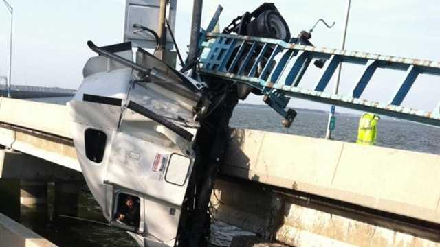 Truck bridge rescue in Newport News, Va.
