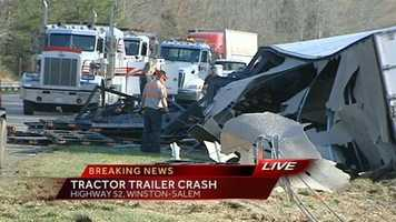 A tractor trailer overturned Tuesday morning on Highway 52 southbound at South Main Street in Winston-Salem.