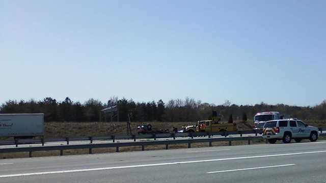 Vehicle overturns on I-85