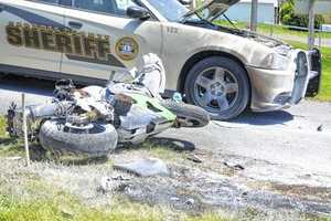 A Hillsville man has been airlifted from Carroll County High School after he led local authorities on a high-speed chase Monday afternoon that resulted in him crashing his motorcycle, causing it to catch fire. (Photos by Michael Howlett, The Carroll Times)