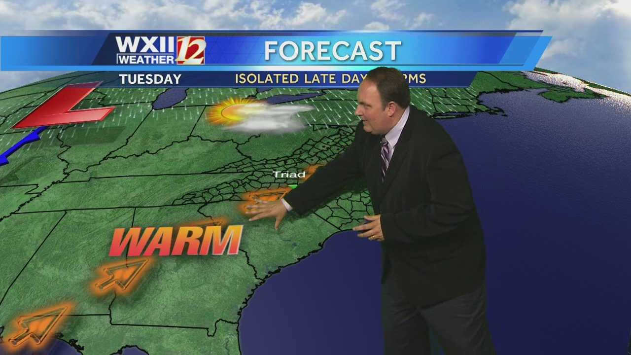 Early fog, heating up and scattered storm in the Triad