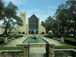 The Cathedral of St. Andrews Episcopal Church in Honolulu. Beautiful fountain in front of it makes it stand out.