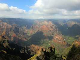 Waimea Canyon is so beautiful and is known as the Hawaiian Grand Canyon.